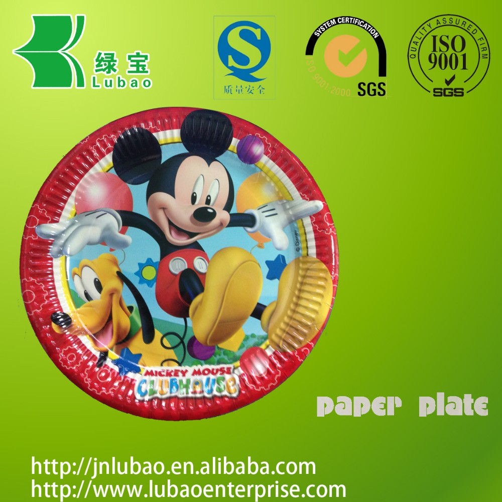 FDA disposable playful Mickey mouse theme paper plate
