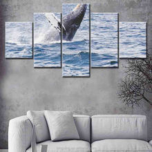 wholesale five panel sea wave and whale on canvas art painting original fiber optic canvas painting wall decor