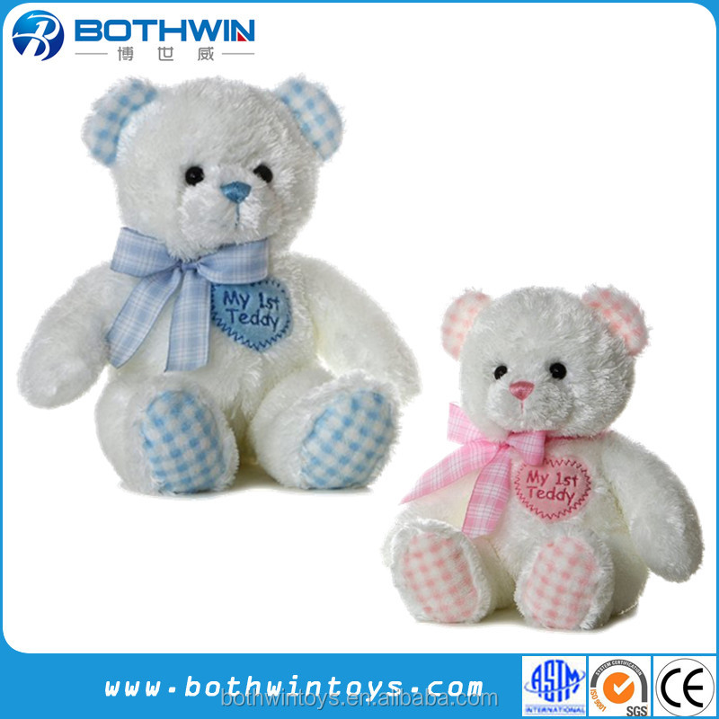 Red and Blue Color Ribbon Couple Teddy Bear Plush