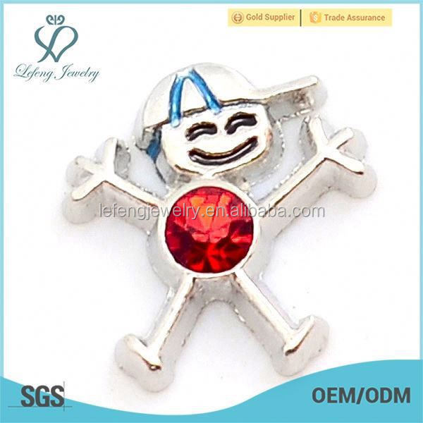 New style zinc alloy red birthstone boy floating charm for locket jewelry