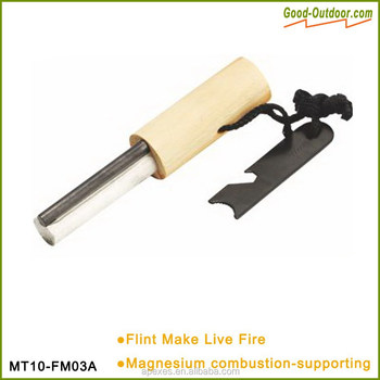 MT10-FM03A New wooden Handle magnesium flint stone fire starter