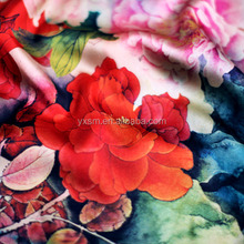 Factory New Design High Quality Digital Print Custom Printed Elastic Silk Satin Fabric