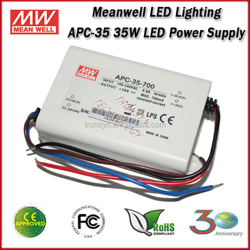 Meanwell Constant Current LED Power Supply APC-35-500 (35W 500mA) Single Output Switch LED Driver
