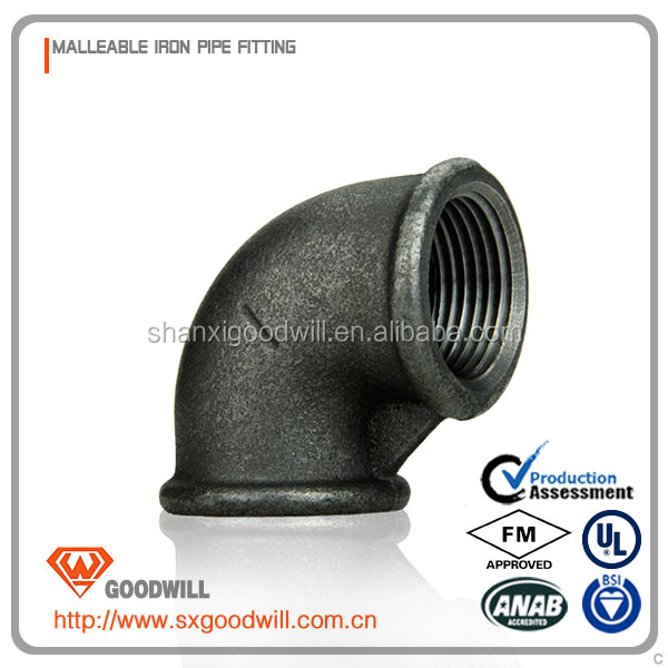 black malleable iron pipe fitting cast screwed elbow