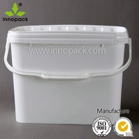 2 gallon plastic square pail with plastic handle food grade