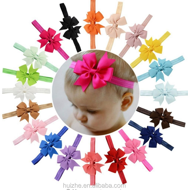 Baby Grosgrain Ribbon Bow Flower Headbands Solid Color Girl Elastic Hair Bands Kids Hair Tie Hair Accessories