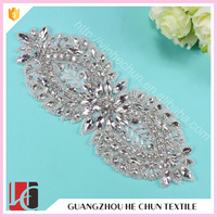HC-4869 Hechun 2016 Bling Crystal Hot Fix Rhinestone Applique for Wedding Dress