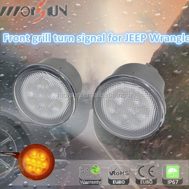 smoke or silvery front grill turn signal for 4 door jeep front grill led turn signal for jeep rubicon