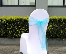 Blue Lace Chiffon Wedding Party Organza Chair Sashes