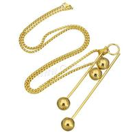 stainless steel sweater chain Necklace gold color plated box chain & for woman 26x93x12mm 2mm Length:Approx 24 Inch