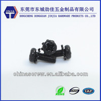 Q234 m3x8 black sem screw with washer serrated lock washers external teeth