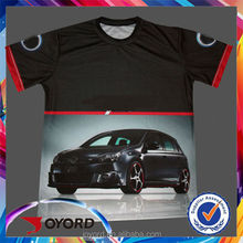 OEM Creative and Fashion Advertising Modified Car full Sublimation Print Black/white and other colors Tee Shirt