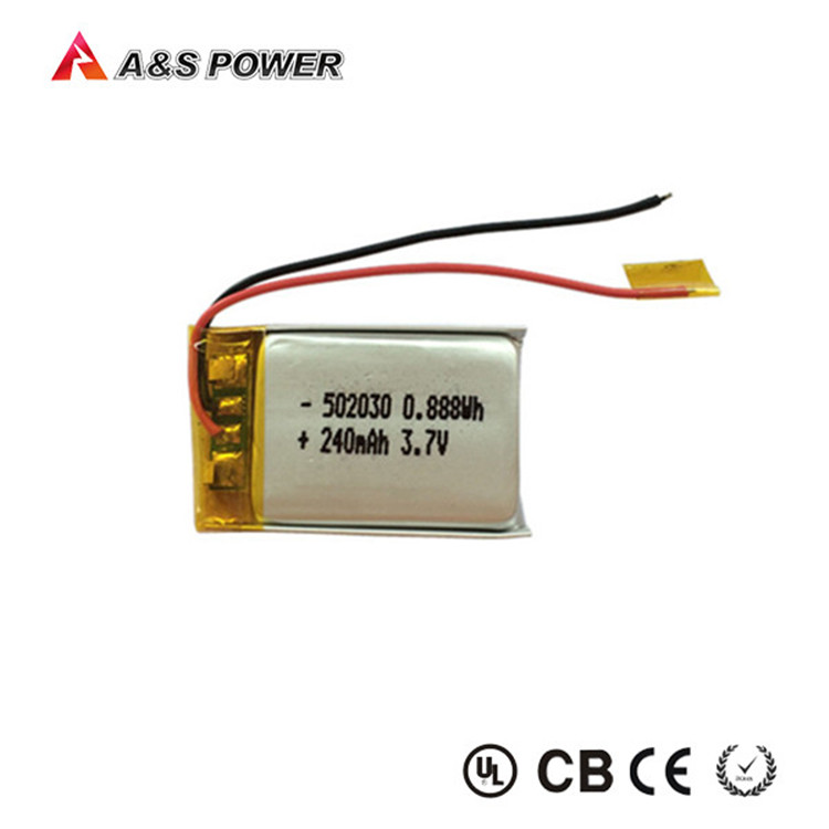 rechargeable 052030 3.7V 250mAh li polymer battery with PCM and wire