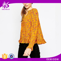2017 Guangzhou Shandao Brand Women Autumn Casual Elegant Yellow Printed Long Sleeve Cotton Designer Blouses Pictures