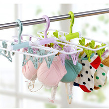 mutifunction foldable plastic hangers with 12 clips pegs hanger for socks baby clothes Bra dryer