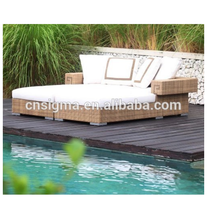 Hot selling alibaba indonesia furniture wicker sunbed outdoor double lounger for sale