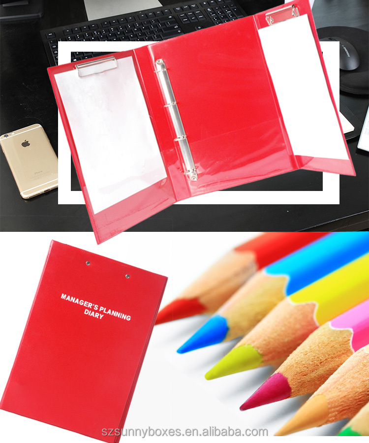 A4 PVC plastic Ring Binder folding clipboard file folder