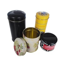 small round two pieces lids airtight metal round cylinder gift box for tea packaging