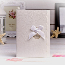 Promotional 50% discount luxurious ivory lace wedding greeting cards invitation gifts with embossing floral and ribbon butterfly