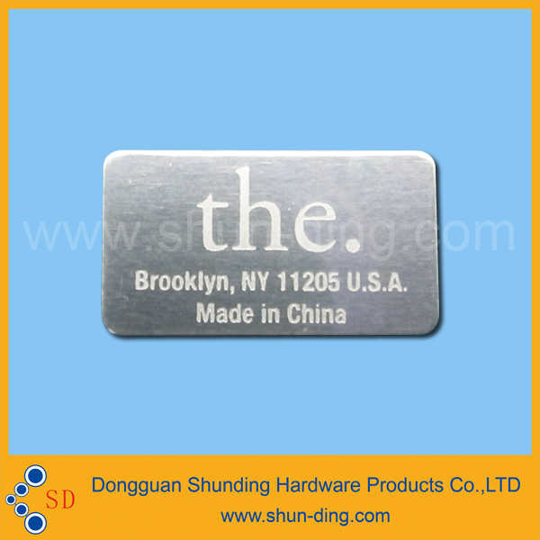 Aluminum lasered name card label