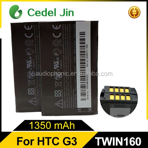 Professionally manufacturer cell phone battery for HTC Google G3/A6288/T5399 A6262/A6266