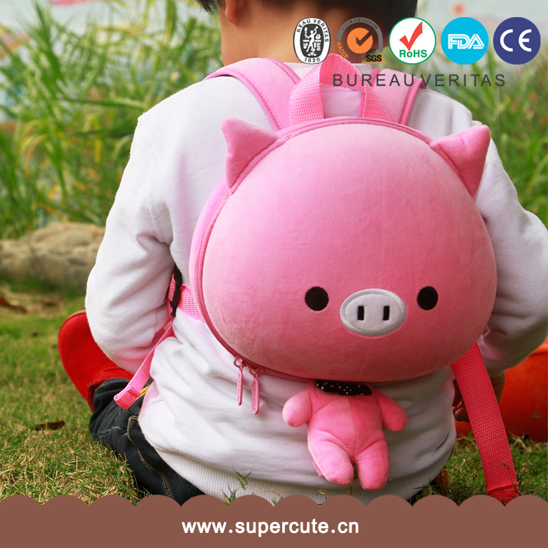 Supercute brand EVA+Plush pink pig design backpack school bag