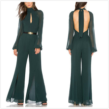 Ladies Fashion Evening Wear Long sleeves Backless Chiffon Jumpsuits