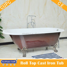 Bathroom furniture cast iron roll top bath tub with enamel finish in highest quality level/ classic cast iron bath