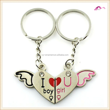 Couple Boy Girl Crystal Angel Wing Heart Keychain Gift