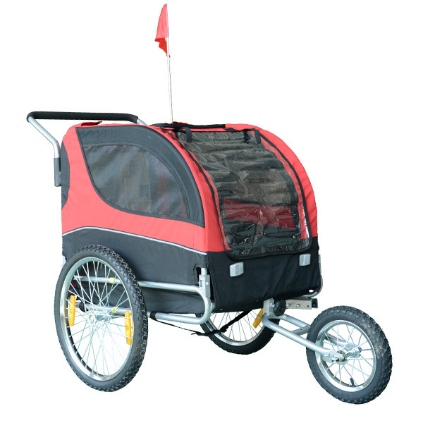 High Quality Pet Bike Trailer for Dogs - Red / Black