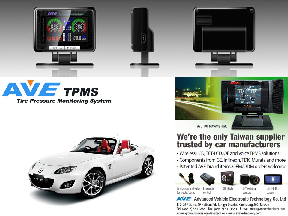 Quality Product Car Accessary AVE T100-SERIES Tire Pressure Mnitoring System TPMS for Mazda MX-5/Miata