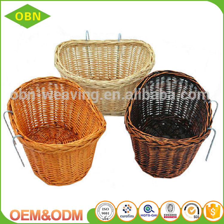 Wholesale excellent quality handmade woven removable wicker bicycle basket