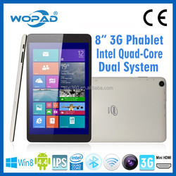 New hot great quality 8 inch intel Pad msn skype and google talk tablet with android 4.4 win8 dual system