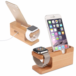 Hot new bamboo wood stand station charging dock for Apple Watch Station and iPhone