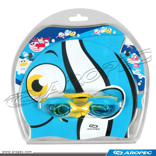 Clown Fish Kids Swimming Combo Set with goggle and cap, Swimming Gear
