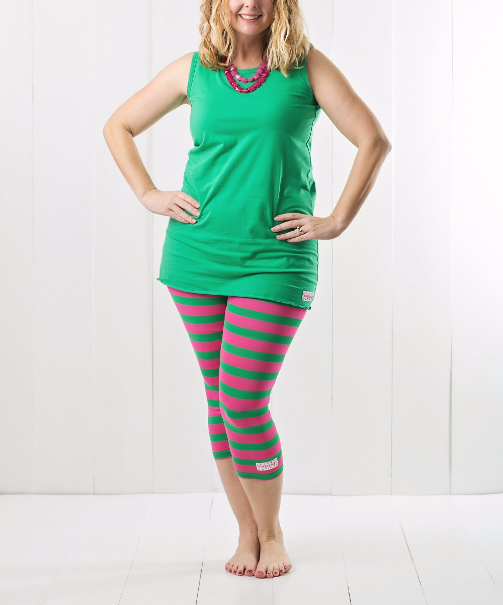 High Quality Women Girls Green T-shirt & Green Red Stripe Leggings Clothes Outfits