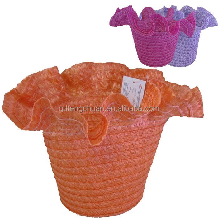 light and top flower paper straw basket