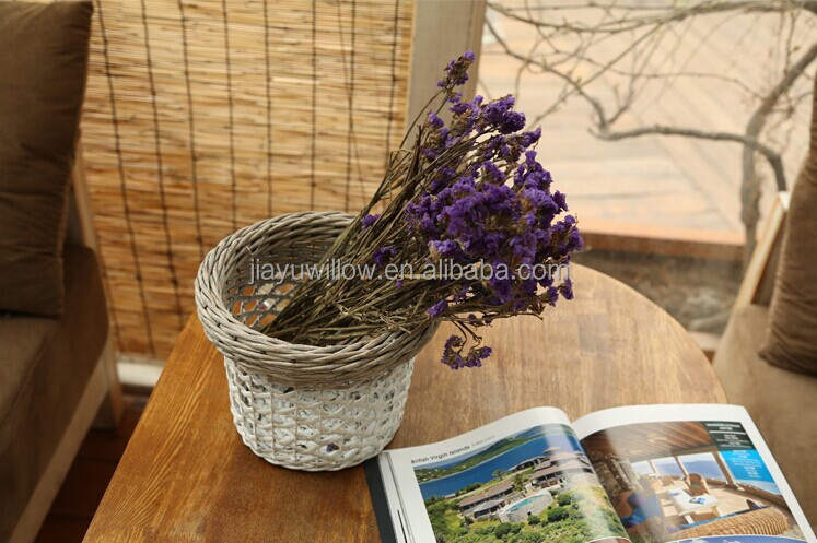 Decorative Hanging Flower Baskets : Handmade grey wicker decorative hanging flower baskets for