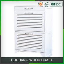 White Solid Wood Modern Multilayer Shoe Cabinet