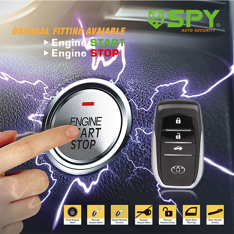 SPY PKE push button remote engine start stop smart car alarm system