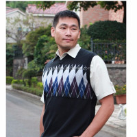 China supplier 100% cotton jacquard v neck knit man sweater vest