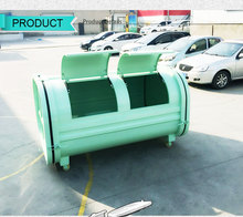 1000L horizontal stainless steel rubbish collect bin with 4 wheels