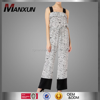 Black and White Printing Chiffon Pants Sexy Sling Jumpsuit Women New Fashion Onesie