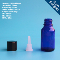 15ml blue glass essential oil bottle with reducer plug and screw cap