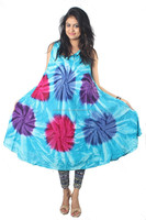 Multi Color tie dye Rayon Fabric Umbrella Dress Plus Size 10 colors