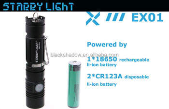 StarryLight EX01 rechargeable led flashlight with 18650 li-ion battery