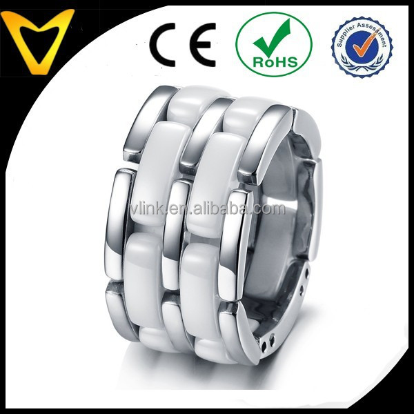 Alibaba Website Fashion Jewelry Mens Ceramic Ring Fashion Stainless Steel Bands Foldable Chain Mens Ladies Ceramic Rings (White)