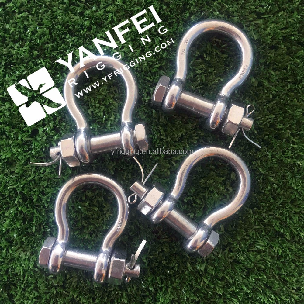 Hot Forged Stainless Steel Ss 304/316 D Shackle / bow Shackle Us / european / jis Type