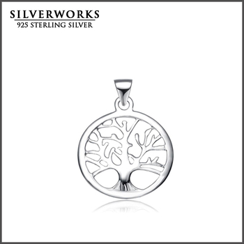 Wholesale Plain 925 Sterling Silver Family Tree of Life Pendants Charm Pendant Necklace For Gift