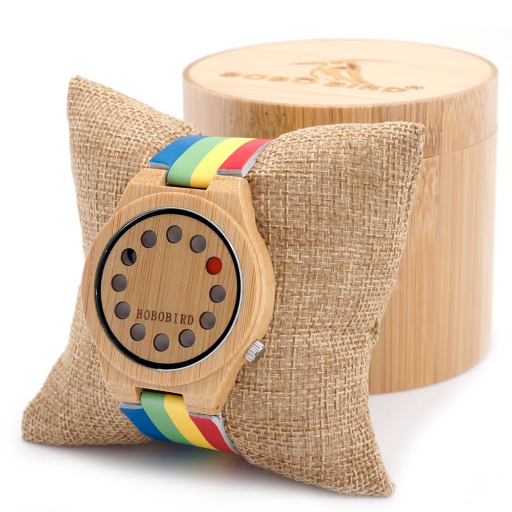 Hot Sale A01 Womens Ladies Watch Holes Design Bamboo Watches with Colorful Leather Band in Gift Box Accept Dropshipping